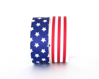 Stars and Stripes Vegan Leather Bracelet Set