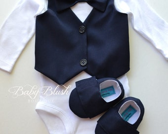 Navy Vest Bow tie Baby Boy Outfit Photo Prop Matching Shoes