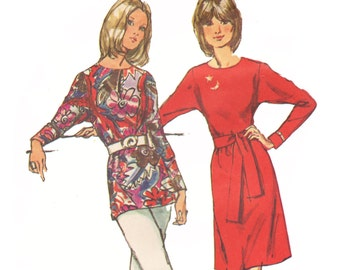 1970s Dress Pattern Dolman Sleeve Dress or Tunic Top Pattern Sewing Pattern Simplicity Jiffy 9983 Size 14 Bust 36