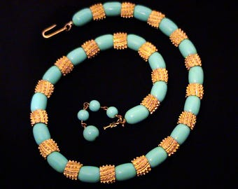 "Vintage 1963 TRIFARI ""Sahara"" Turquoise Blue Necklace"