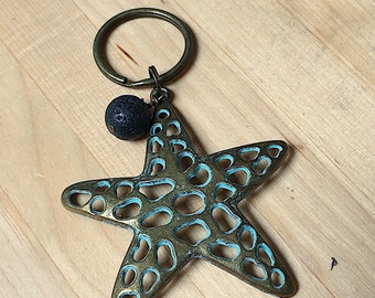 mothers day gift, patina starfish, Pewter keychain, starfish keychain, oils key chain, key ring, patina sea star, starfish key ring