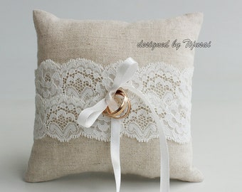 Natural linen wedding ring bearer pillow with lace trim- ring bearer pillow, wedding pillow , ring bearer, ring cushion-ready to ship