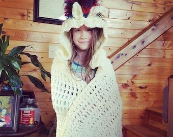 Crocheted Hooded Unicorn Blanket