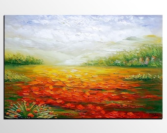 Oil Painting, Poppy Field Painting, Large Art, Wall Art, Canvas Painting, Large Painting, Abstract Art, Abstract Painting, Original Painting