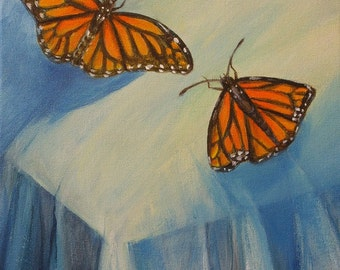 butterfly painting, Butterfly Corner, original monarch butterfly painting on canvas, monarch butterflies, wall art, acrylic painting