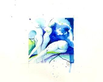 Blue Nude 11-nude-Watercolour-drawing-Aktgemälde-nude art-nude painting-Unique