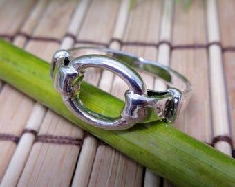 Schnalle Ring Oval 925 Sterlingsilber vergoldet 7 + 8 1/2 Gürtel silberfarbenes Metall einfach edel elegante Schleife Vintage versandkostenfrei (719 + 720)