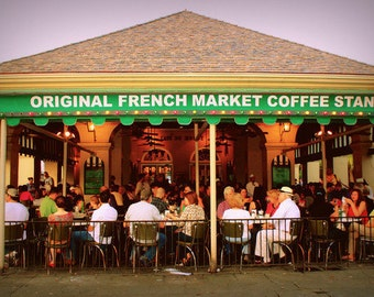 Café du Monde Photo, Bold Kitchen Art, Coffee Lover Gift, Coffee Wall Art, New Orleans Photo, Urban Photograph, Coffee Shop Art, Green Art