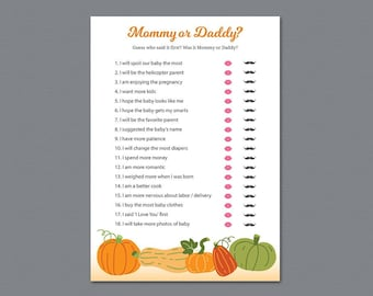 Mommy or Daddy, Who Said It, He Said She Said, Fall Pumpkins, Squash Baby Shower Games, Fun Baby Shower Quiz, Guessing game, Mom Dad, B014
