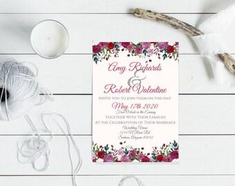 Floral Wedding Invitation **PDF PRINTABLE**