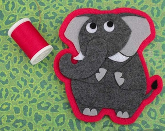 Elephant - Iron on Patch OR Ornament - Sew On Patch - Felt Animal Applique - Ira the Elephant