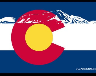 Colorado Flag Mountain Sticker