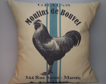 French Chicken Pillow, Rustic , Farmhouse, Grain sack Pillows, Farm42, Shabby Chic, INSERT INCLUDED