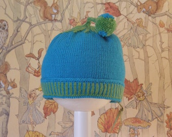 Blue Beanie Green Swirl Pompon
