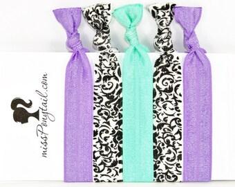 Hair Ties ~ 5 Pack Black & White Damask, Aquamarine, Purple, Handmade Trendy Ponytail Holders Knotted Stretchy Elastic FOE Yoga missponytail