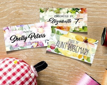 """Custom Fabric Labels, Pastel Floral Designs, Sew-on, Iron-on, 80 Labels, 2""""W x 1""""H,  Uncut, Your Name Added, Colorfast 100% Preshrunk Cotton"""