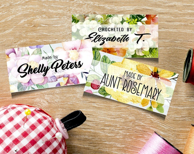 "Custom Fabric Labels, Pastel Floral Designs, Sew-on, Iron-on, 80 Labels, 2""W x 1""H,  Uncut, Your Name Added, Colorfast 100% Preshrunk Cotton"