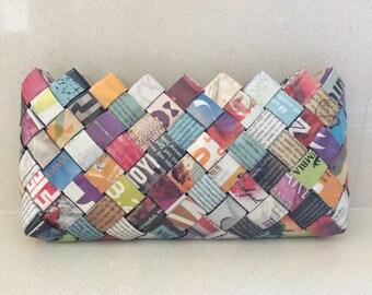 Damen Sie Handtasche, Magazin Geldbörse, Zeitung Geldbörse, gewebt Geldbörse, bunte Handtasche, Jahrestag, einzigartige, stilvolle Tasche, Eco Mode Kupplung Geldbeutel