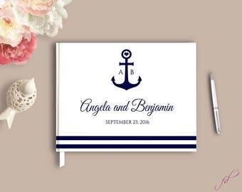 Wedding Guestbook Alternative, Nautical Wedding Guestbook, Beach wedding guest book, navy guestbook with anchor, Hard Cover guestbook