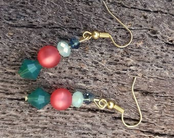 Unique earrings, swarovski crystals, palace green opal, red and green, glass crystals, gift for her, gold ear hooks, valentines present.