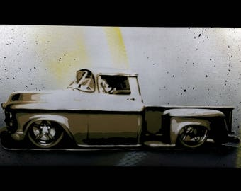 Spray Paint Art, Classic C10 Truck Painting, Man Cave Decor, Body Shop Decor, Gift For Him, Canvas Art, Original Wall Art by 11thandTDesigns