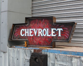 Chevrolet Sign 4ft Sign Plaque Vintage Retro Decrotive Wall Art VW Hotrod Man Cave Bar Pub Shop Pinstripe Signwrite