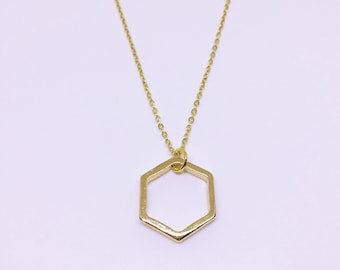 Gold Plated Geometric Hexagon Charm Necklace