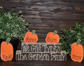 Personalized Thanksgiving Block Set-Personalized Wood Block Love Set fall decor primitive block sign Personalized Thanksgiving