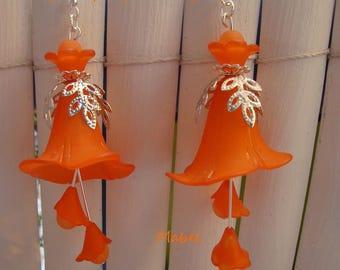 Orange earrings, Bell arum, orange, lucite, wedding
