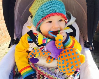 Rainbow knitted slouch beanie 0-12 months