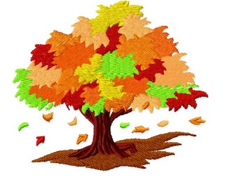 Autumn Fall Tree  Machine Embroidery Design Pack, 4x4 Hoop