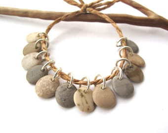 River Stone Charms Top Drilled Rock Beads Mediterranean Beach Stone Beads Diy Jewelry Natural Stone Pairs SMALL EARTHY MIX 11 mm