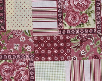 Cotton Quilt Fabric patchwork pattern - red pink - 1 YD - By the yard - yardage half yard fat quarter - TWT103