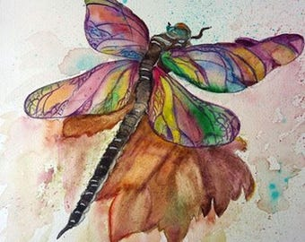challenge of the month of June, the beautiful colorful Dragonfly watercolor