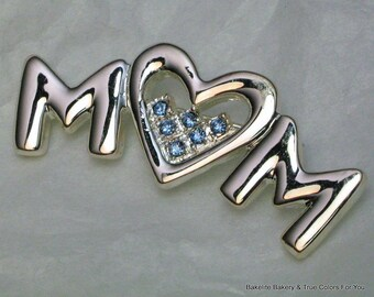 MoM SaLe I Love You Rhinestone Brooch Pin Vintage Retro Gift Costume Jewelry Signed AJMC Supplies Assemblage Crystals Heart Mother's Day Mod