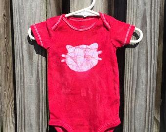 Cat Baby Bodysuit, Baby Cat Bodysuit, Red Cat Bodysuit, Red Cat Baby Gift, Gender Neutral Baby Gift, Baby Shower Gift (6 months)