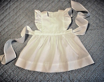 White Pinafore Dress-Jumper with eyelet flutter sleeves.   Size 12 months/1T.  Ready to Ship.
