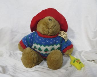 Retro Paddington the Bear Stuff Plush 1998 90s Holiday Sweater