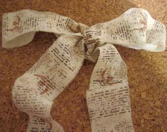 French Inspired Ribbon, Distressed Ribbon Trim, Vintage Bird Trim, Trim with Script, Aged Ribbon Trim, Dove Bird Trim, ECS