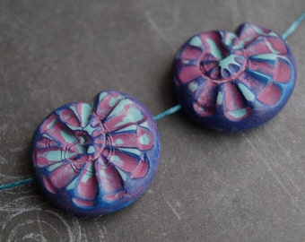 Polymer Clay Shell Beads - Polymer Clay Beads - Snail Beads - Handmade beads - Bead Soup Beads