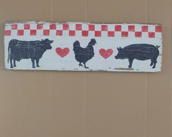 Hand painted farmhouse wall hanging