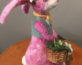 Miss Pink Bunny needle felted sculpture