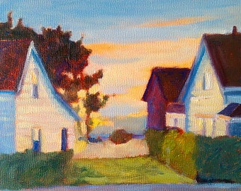 Art Print Cottages by the Sea reproduction of original painting