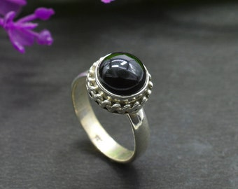 Natural Black Onyx Round Gemstone Ring 925 Sterling Silver R673