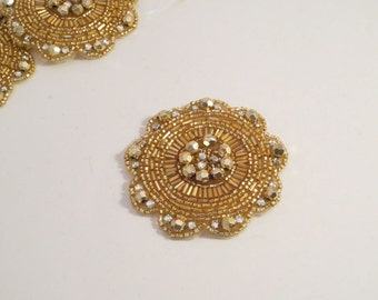 Round Gold and Rhinestone Beaded Applique--One Piece