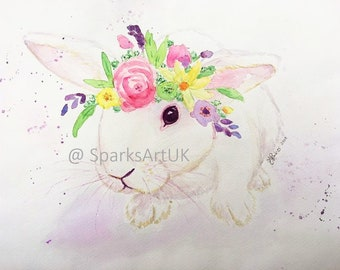 White bunny rabbit with flower crown