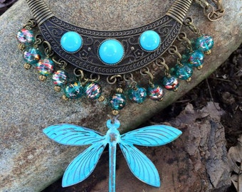 Dragonfly necklace, Patina Dragonfly necklace, Beaded Necklace, Dragonfly Jewelry