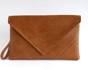Gift For Her Brown Clutch Bag Casual Clutch Purse Vegan Leather Clutch Bridesmaid Clutch Vegan Bag Brown Handbag Evening Bag Vegan Purse