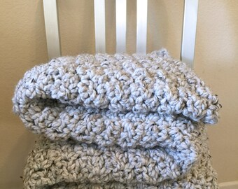 Crochet Chunky Blanket - Grey Marble (ready to ship)