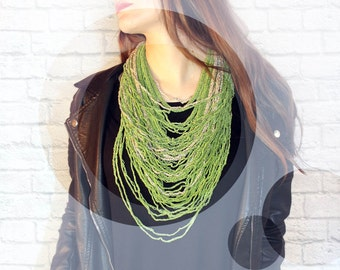 Green Knitted Necklace. Multi Strand Necklace. Crochet Necklace. Green Statement Necklace. scarf Necklace. Knitted and crochet jewelry.